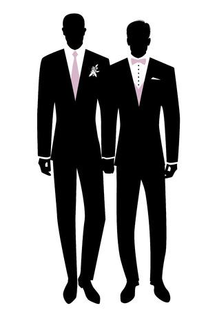 Mariage homosexuel. Silhouette de jeunes mariés couple marié gay. Couple d'hommes portant des costumes pour le marié, une cravate, un nœud papillon et des fleurs sur le revers. Droits LGBTQ
