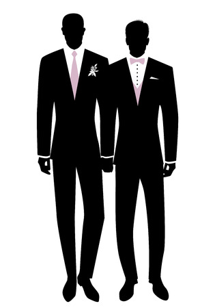 Queer Wedding. Gay groom couple newlyweds silhouette. Couple of men wearing suits for groom, tie, bow tie and flowers on lapel. LGBTQ Rights Vettoriali