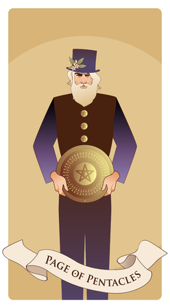 Page or knave of pentacles with top hat holding a golden shield. Minor arcana Tarot cards. Spanish playing cards.
