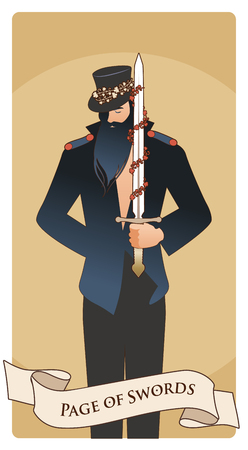 Page or knave of swords with top hat holding a sword with flowers and leaves. Minor arcana Tarot cards. Spanish playing cards. Vektorové ilustrace