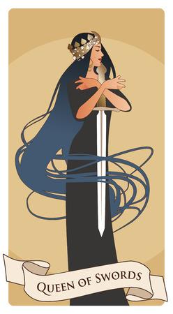 Reine des épées avec couronne de pique, tenant une épée entourée de ses longs cheveux. Cartes de tarot arcanes mineurs. Cartes à jouer espagnoles.