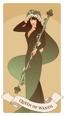 Reine des baguettes avec couronne de fleurs, tenant une tige entourée d'une guirlande de feuilles et de fleurs. Cartes de tarot arcanes mineurs. Cartes à jouer espagnoles.