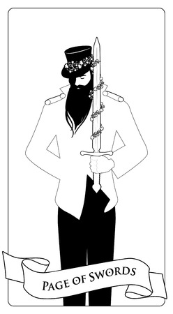 Outlines Paje or knave of swords with top hat holding a sword with flowers and leaves. Minor arcana Tarot cards. Spanish playing cards coloring.