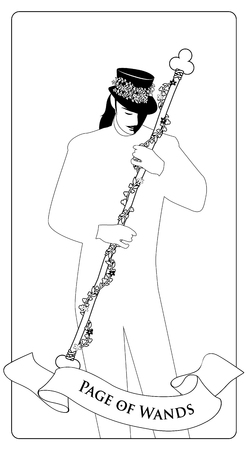 Outlines Page or knave of Wands with top hat, holding a rod surrounded by a garland of leaves and flowers. Minor arcana Tarot cards. Spanish playing cards coloring. Vektorové ilustrace