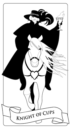 Knight dressed in the old style, with mustache and feathered hat with a golden cup in his hand, riding an elegant horse with long mane and heart spiked in the chest. Minor arcana Tarot cards. Spanish playing card coloring.
