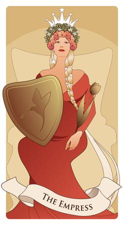 Karty Tarota Wielkie Arkana. Cesarzowa. Piękna kobieta z długimi warkoczami, w ciąży, siedząca na tronie z koroną z kwiatów i gwiazd, trzymająca z przodu tarczę z kolibrem i złotym berłem w kształcie tulipana. Ilustracje wektorowe