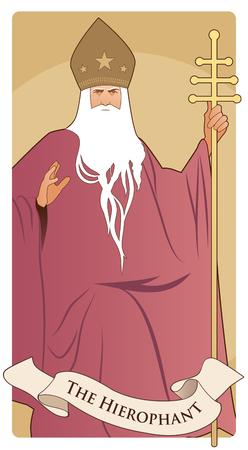 Cartas del Tarot de los Arcanos Mayores. El Hierofante. Papa de barba blanca y mitra con estrellas, sosteniendo un báculo dorado, bendiciendo con su mano derecha.