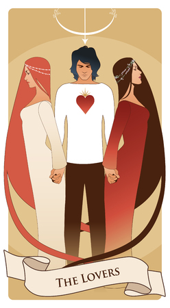 Major Arcana Tarot Cards. The Lovers. Young man holding two beautiful women by the hand. T-shirt with heart on the chest and bow and arrow on his head. Illustration