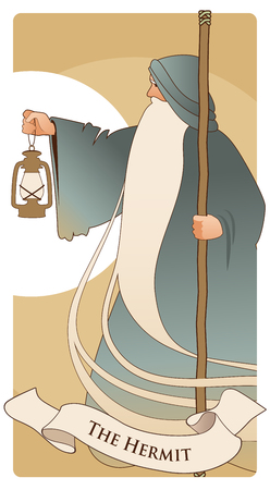 Major Arcana Tarot Cards. The Hermit. Old man with a long beard, wearing a long hooded robe, leaning on a staff and illuminating his path with an old lamp.
