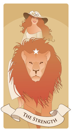 Major Arcana Tarot Cards. The Strength. Beautiful and young girl wearing a hat adorned with a flower and the symbol of infinity, riding on the back of a domesticated lion. Illustration