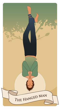 Major Arcana Tarot Cards. The Hanged Man. Man hanging from a tree, face down, subject of the right foot, with praying hands