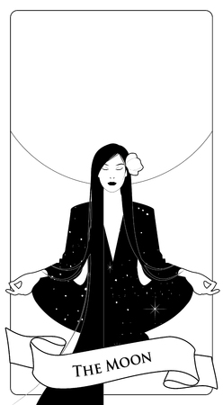 Major Arcana Tarot Cards. The Moon. Beautiful girl meditating in lotus position and full moon in the background. Constellation clothes, long dark hair and red flower in the hair.