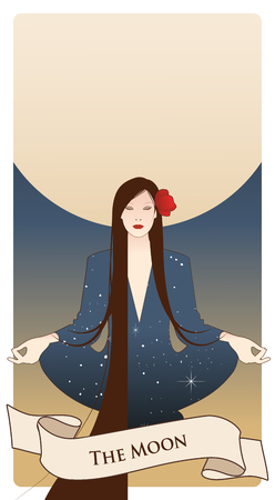 Major Arcana Tarot Cards. The Moon. Beautiful girl meditating in lotus position and full moon in the background. Constellation clothes, long dark hair and red flower in the hair. Stock Vector - 124155656
