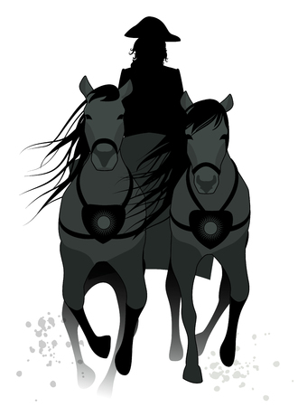 Silhouette of chariot pulled by two horses and driven by an coachman wearing old hat isolated on white background