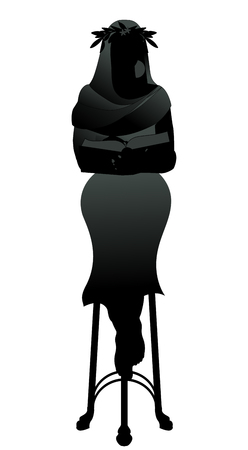 Silhouette of priestess with a laurel wreath reading a book sitting on a tripod, like a Greek pythia, isolated o white background