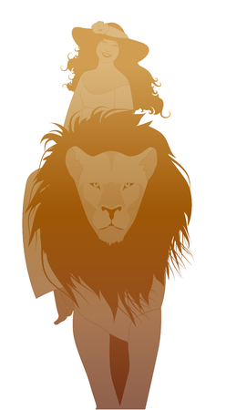 Silhouettes of girl wearing a hat adorned with a flower, riding on the back of a domesticated lion, isolated on white background