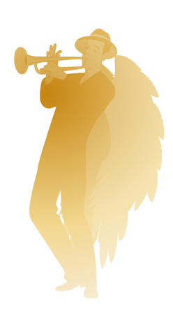 Silhouette of angel with great wings, wearing hat playing trumpet, isolated on white background Ilustracja