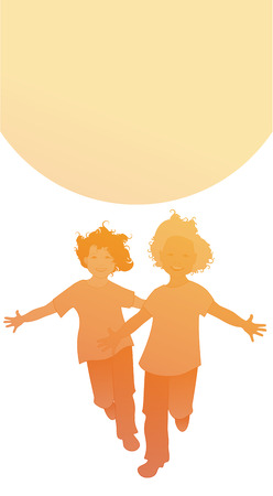 Silhouettes of two happy boys running with open arms in front of the sun. Isolated on white background