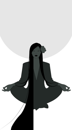 Silhouette of girl meditating in lotus position and full moon in the background. Isolated on white background