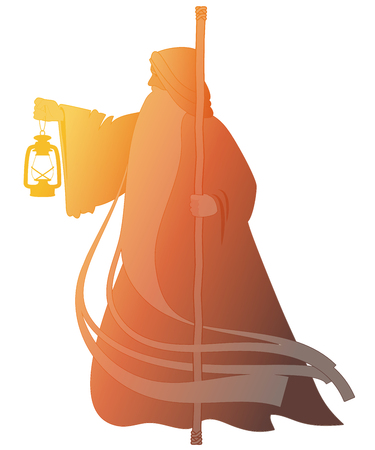 Silhouette of old man with a long beard, wearing a long hooded robe, leaning on a staff and illuminating his path with an old lamp. Isolated on white background Çizim