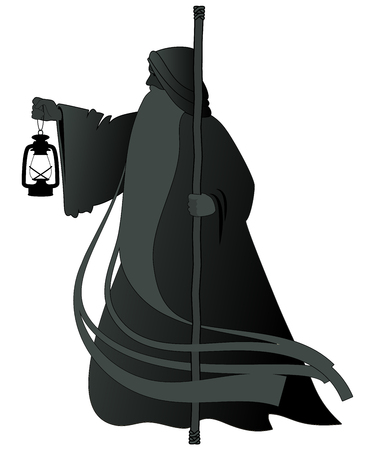 Silhouette of old man with a long beard, wearing a long hooded robe, leaning on a staff and illuminating his path with an old lamp. Isolated on white background Illustration