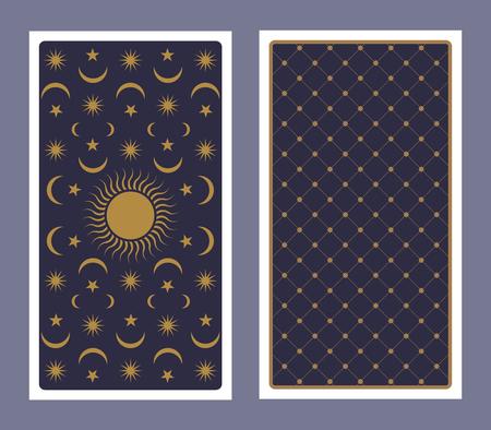 Dos de carte de tarot décoré d'étoiles, de soleil et de lune