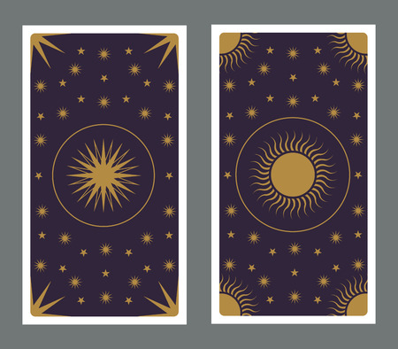 Back of Tarot card decorated with stars, sun and moon