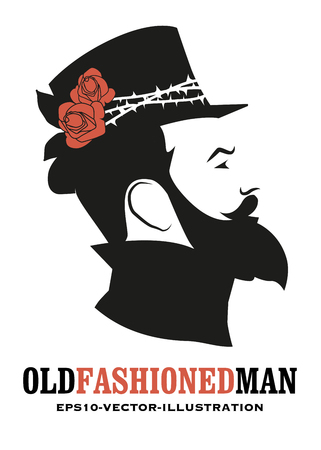 Bearded man, in the old style, wearing a top hat decorated with roses and thorns Vettoriali