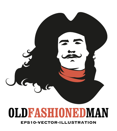 Man mustached and long hair to the wind, wearing an old hat of the eighteenth or nineteenth century
