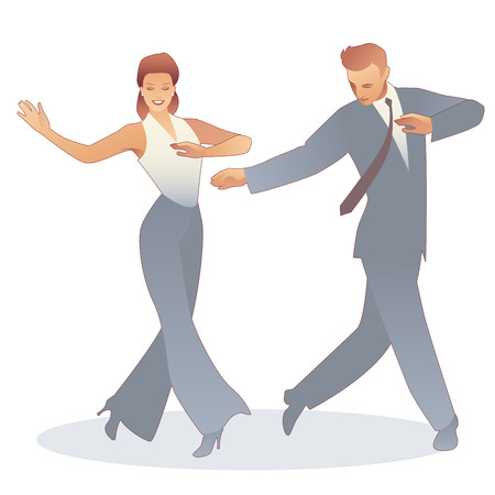 Young couple dressed in retro clothes, dancing tap, swing or Broadway style, isolated on white background