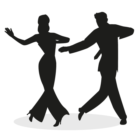 Silhouettes of young couple dressed in retro clothes, dancing tap, swing or Broadway style, isolated on white background