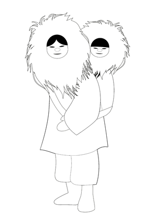 Eskimo mother with son behind her back, wearing fur clothes, isolated on white background