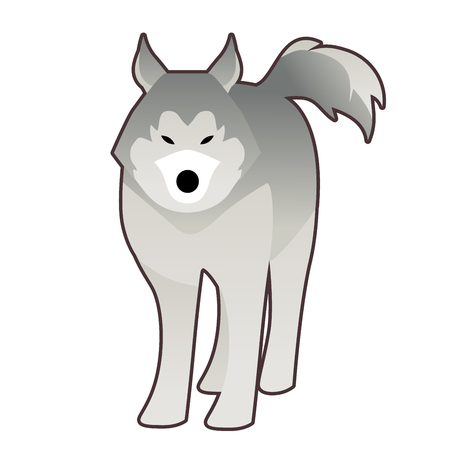 Sled husky dog of polar race cartoon style isolated on white background Illustration