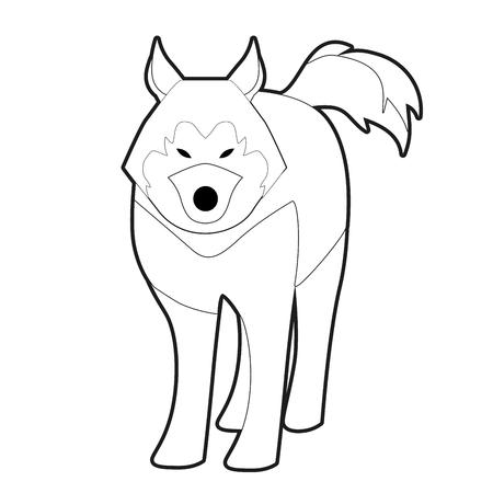 Sled husky dog of polar race cartoon style isolated on white background Stock Vector - 121168759