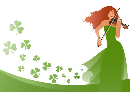Beautiful violinist playing violin isolated on white background, surrounded by clovers. Blank space for text or design