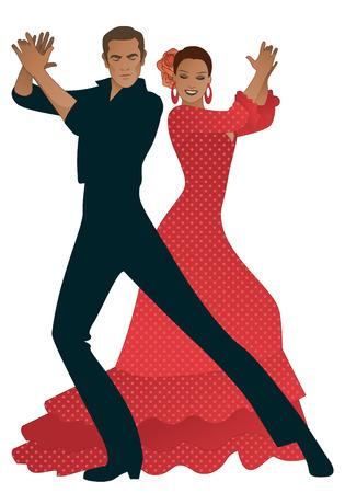 Pareja tocando palmas de bailarines de flamenco. Hombre guapo y mujer hermosa con flores en el pelo y vestido de baile típico español Ilustración de vector