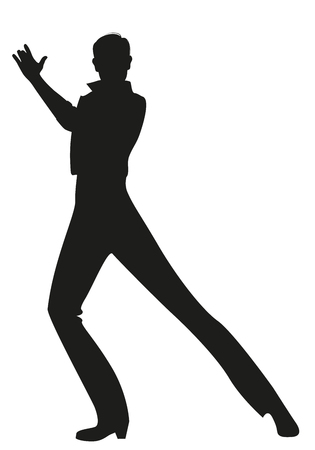 Silhouette of Spanish Flamenco dancer man dancing isolated on white background