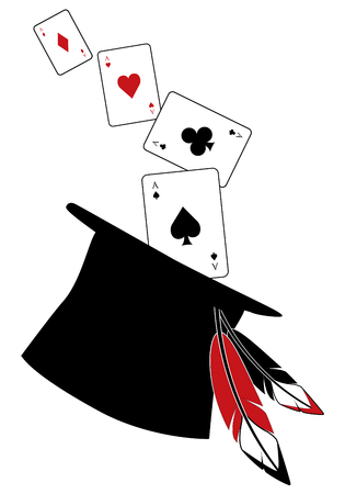 Top hat with feathers, from which come the aces of the poker deck, isolated on white background