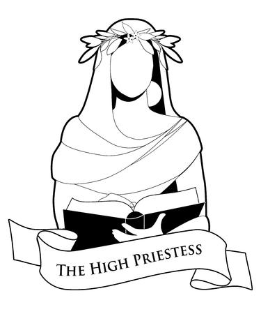 Concepto de carta del tarot. La Suma Sacerdotisa con una corona de laurel leyendo un libro. Banner de texto. Aislado sobre fondo blanco Ilustración de vector