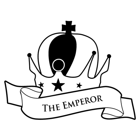 Tarot Card Concept. The Empress. Imperial crown with cross and stars and text banner, isolated on white background