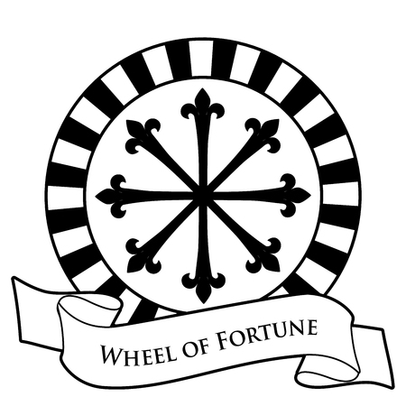 Tarot Card Concept. Wheel of Fortune and text banner isolated on white background