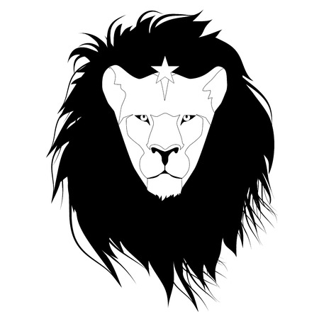 Lion head with a star on his forehead, isolated on white background. Çizim