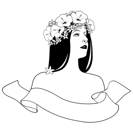 Head and shoulders of beautiful girl with flower wreath and text banner on white background. Label, logo or brand. Ilustração