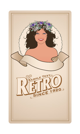 Retro label with pretty girl adorned with flowers and empty text banner and sample text. Vintage style