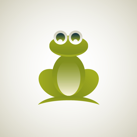 Frog. Vector illustration of logo. Stylized, simplified and isolated cute animal. Illustration