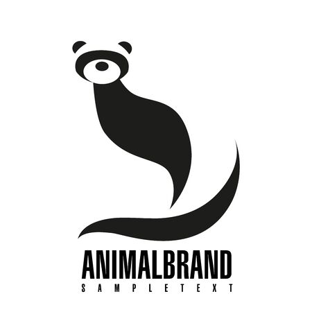 Ferret. Vector illustration of logo. Stylized, simplified and isolated cute animal.