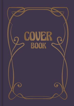 Antique book cover with decorative ornamental modernist border