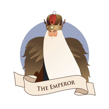 Major Arcana Emblem Tarot Card. The Emperor. Man with crown and long white beard and fur cape, isolated on white background