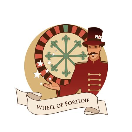 Major Arcana Emblem Tarot Card. The Wheel of Fortune. Master of ceremonies with mustache, wearing top hat adorned with playing cards, showing a casino roulette, isolated on white background