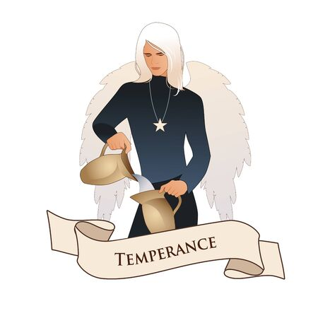 Major Arcana Emblem Tarot Card. Temperance. Angel with appearance and clothes of young man, great wings, hair fair, pouring water from one jug to another, isolated on white background Иллюстрация